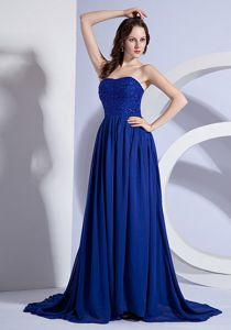 Exclusive Beaded Blue Brush Train Senior Graduation Dress 2014