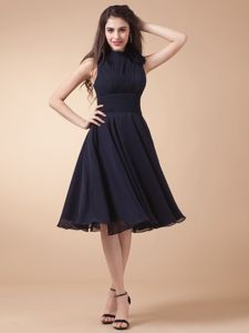 High-Neck Navy Blue Short Graduation Dress with Keyhole Back