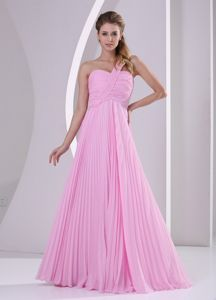 Pretty One Shoulder Ruched Pleated Pink Graduation Dresses