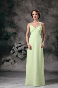 Yellow Green Long Prom Dress for Graduation Spaghetti Straps