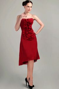 Fashion Wine Red Strapless Graduation Dress for College with Ruffle