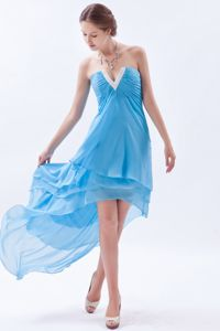 Aqua Blue High-low V-neck Graduation Ceremony Dresses in Fashion