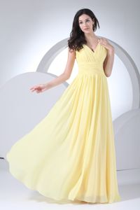 V-neck Yellow Ruched Eighth Grade Graduation Dresses on Discount