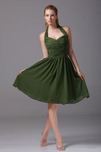 Olive Green Halter Ruched Middle School Graduation Dresses Cheap