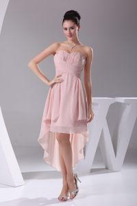 Most Popular High-low Sweetheart Ruched Junior Graduation Dresses