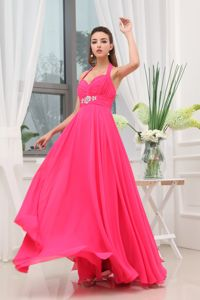 Hot Pink Halter Beaded Middle School Graduation Dress with Ruche