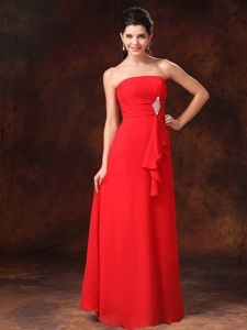 Best Red Strapless Chiffon Evening Dress for Graduation with Beads