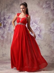 Red Chiffon Beading College Graduation Dresses in Massachusetts
