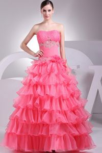 Multi-tiered Ruffles Appliqued Graduation Dress for High School New