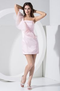 Baby Pink one Shoulder Mini-length Graduation Dress for 8th Grade