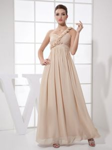 Ankle-length Champagne Graduation Dress with Hand Made Flowers