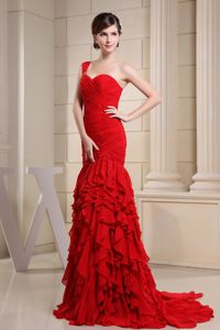Fashion Watteau Train one Shoulder Ruched Grad Dress with Ruffles