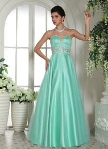 Sweetheart Apple Green Long Senior Grad Dresses with Rhinestones