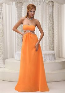 Orange Backless Strapless Beaded Long College Graduation Dresses