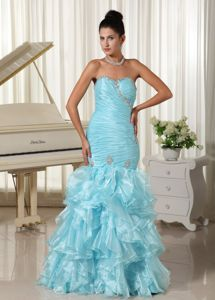 Baby Blue Mermaid Lace-up Ruched Graduation Dresses with Ruffles