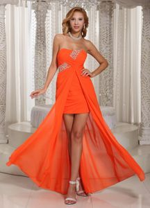 Strapless Orange Red High-low Beaded 8th Grade Graduation Dress