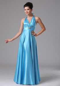 Halter Baby Blue Full-length College Graduation Dress in Connecticut