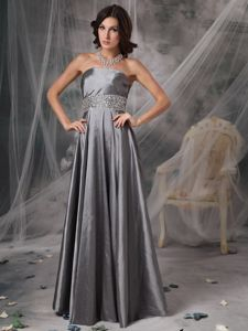 Silver Strapless Beaded Floor-length Middle School Graduation Dress