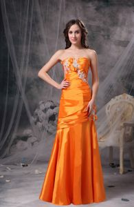 Orange Sweetheart Long 8th Grade Graduation Dress with Appliques