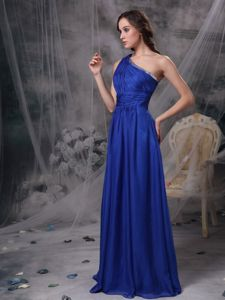 Pretty Single Shoulder Blue Brush Ruched Graduation Dress For Girls