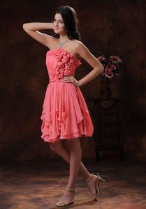 Strapless Watermelon Short College Graduation Dresses with Flowers