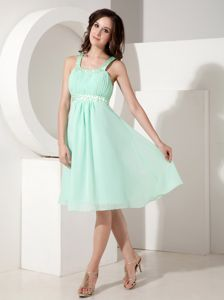 Cute Apple Green Knee-length Junior Graduation Dresses with Straps