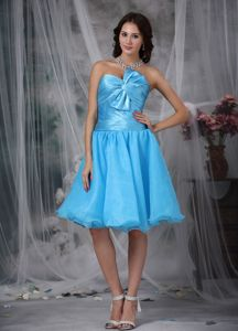 Cute Pleated Aqua Blue Short 5th Grade Graduation Dress with Bow