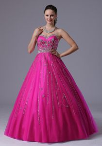 Fuchsia Sweetheart Beaded Full-length Graduation Dress For Juniors