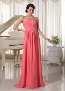 Watermelon Red Strapless Ruched Long Graduation Dress For Junior