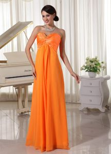 Lace-up Orange Sweetheart Full-length Graduation Dress For College