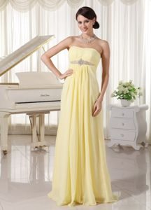 Strapless Light Yellow Beaded Long High School Graduation Dresses