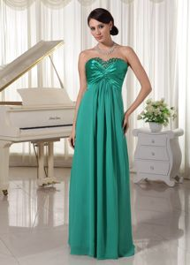 Turquoise Lace-up Beaded Full-length Graduation Dress For College