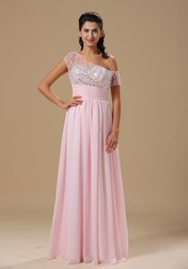Asymmetrical Sleeves Baby Pink Beaded Long College Grad Dresses
