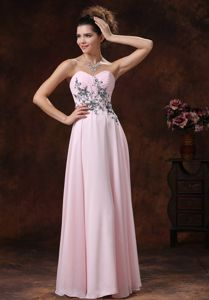 Baby Pink Sweetheart Long College Graduation Dress with Appliques