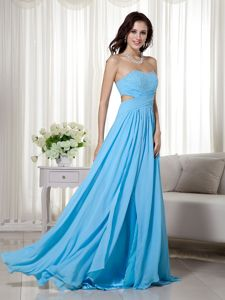 Backless Sweetheart Aqua Blue Beaded Brush College Grad Dresses