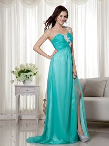 Appliqued One Shoulder High Slit Turquoise Cheap Graduation Dress