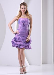 Strapless Lavender College Graduation Dress with Pick-ups and Bow