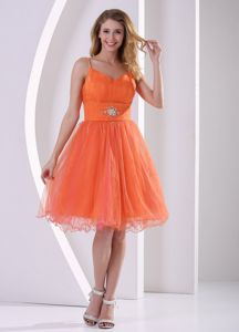 Orange Red Beaded College Graduation Dress with Spaghetti Straps
