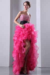 Sweetheart High-low Organza Grad Dresses with Beading in Hot Pink