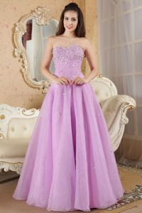 Sweetheart Organza Beaded College Graduation Dresses in Lavender