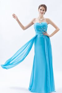 Aqua Sweetheart Chiffon University Graduation Dress with Beading