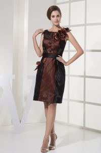 Brown Scoop Graduation Dresses For High School with Black Sash