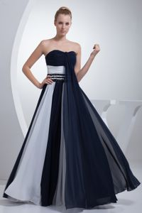 Ruched and Beaded Cute Graduation Dresses in Navy Blue and White