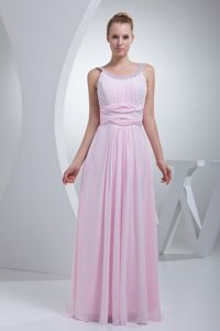 Beaded Scoop Floor-length College Graduation Dresses in Baby Pink