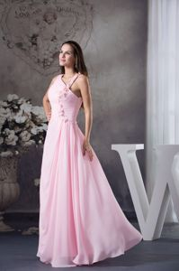 Floor-length Pink Graduation Dresses with Beading and Hand Flower