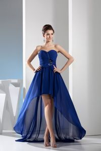 Royal Blue Sweetheart Chiffon College Graduation Dress with Ruches