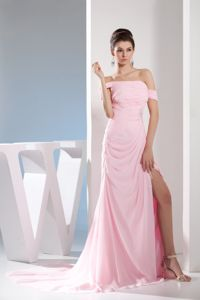 Light Pink Off The Shoulder Grad Dresses with Ruches and Beading