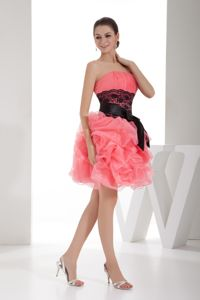 Strapless Ruched Knee-length Cute Graduation Dress in Watermelon
