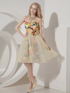 Colorful Knee-length Beaded Short Graduation Dresses with Printing