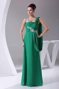Green Appliqued Graduation Dresses For Middle School with Ruches
